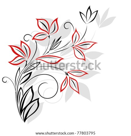 Black and red floral pattern - stock vector