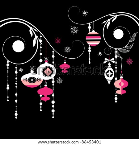Black and White Christmas Background - stock vector