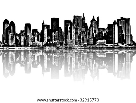 Black and white city - illustration - stock vector