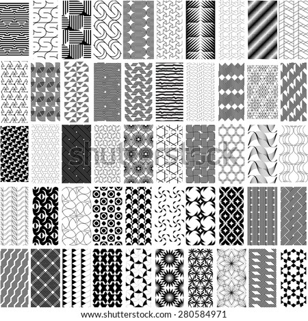 50 black and white geometric seamless pattern set. Abstract background. Vector seamless pattern. - stock vector