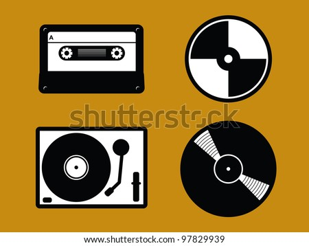 4 Black and White Old Music Icons. Cassette Tape, CD, Turntable and Vinyl Record. - stock vector