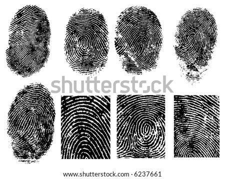 8 Black and White Vector Fingerprints - Very accurately scanned and traced ( Vector is transparent so it can be overlaid on other images, vectors etc.) - stock vector