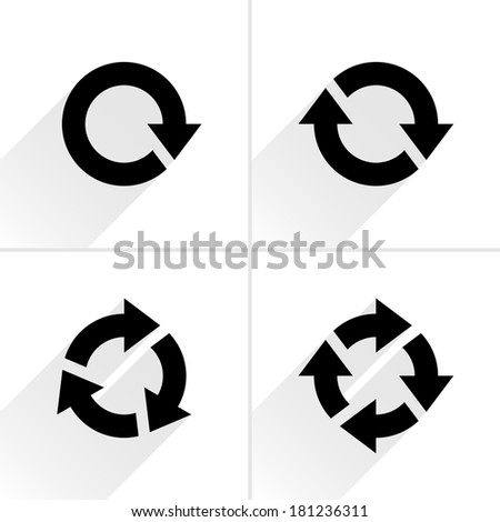 4 black arrow reload, rotation, loop, refresh, icon. Volume 03. Flat icon with gray long shadow on white background. Simple, solid, plain, minimal style. Vector illustration web design elements 8 eps - stock vector