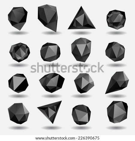 Black diamond polygon triangle stone 3d objects set - stock vector