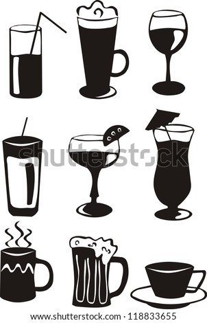 9 black drink icons