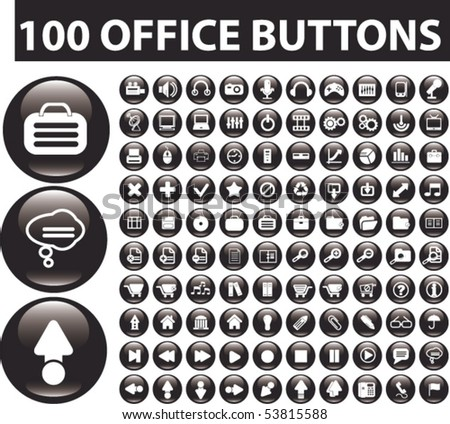 100 black glossy office buttons. vector