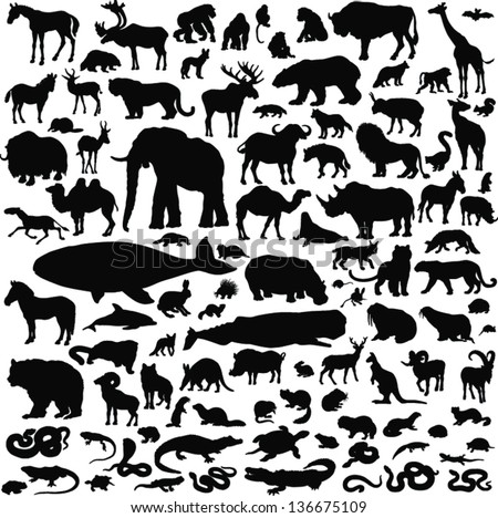 100 black icons of images of animals on a white background - stock vector