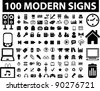 100 black icons set, signs, vector illustration - stock photo