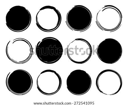 +++ Black ink round frames. Vector clip art illustrations isolated on white  - stock vector