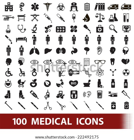 100 black medical icons on white background - stock vector