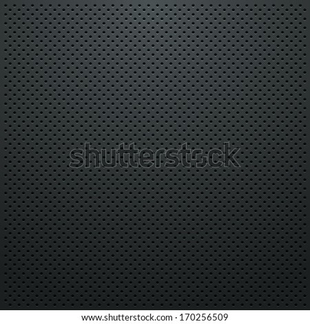 Black Metallic Perforated Plate Texture - stock vector