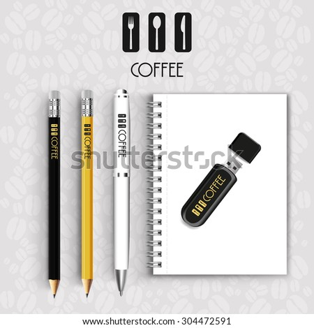 Black Notebook pencil with pen drive Menu Restaurant Background coffee beans - stock vector