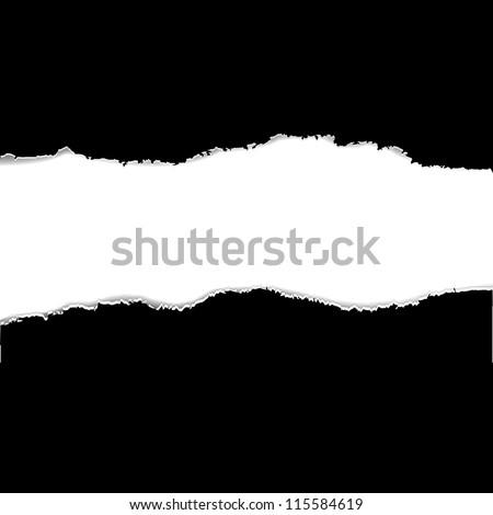 2 Black Torn Paper Borders, Vector Illustration - stock vector