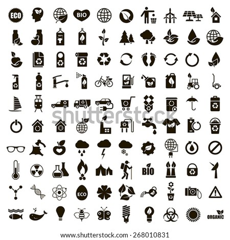 100 black vector environmental icons on a white background