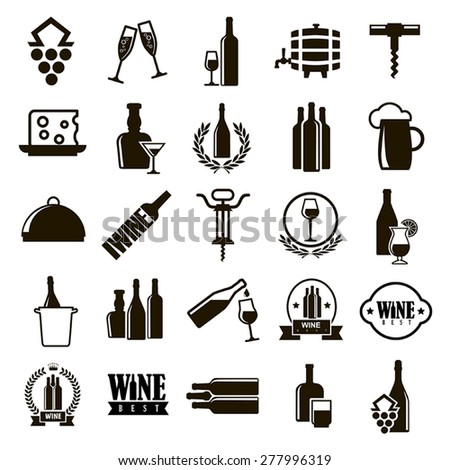 25 black vector icons of food and drinks, wine and beer symbols on a white background - stock vector
