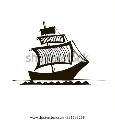 black&white graphic ship with striped sails
