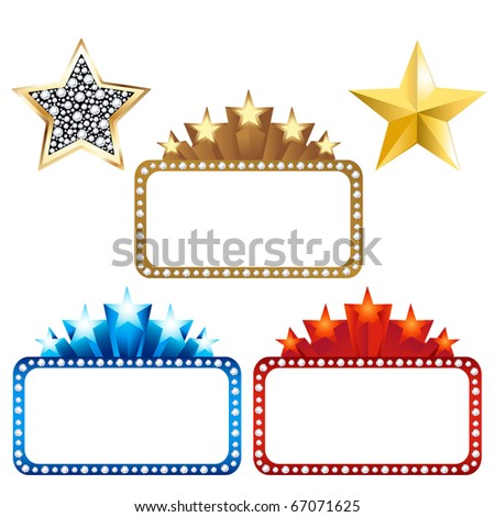 3 Blank Billboards With Stars And 2 Gold Stars, Isolated On White Background, Vector Illustration - stock vector