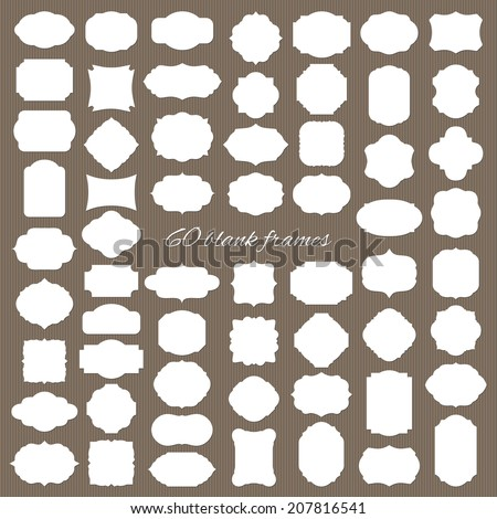 Blank frame and label mega set. Vector illustration. - stock vector
