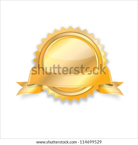 Blank golden award medal with ribbon - stock vector