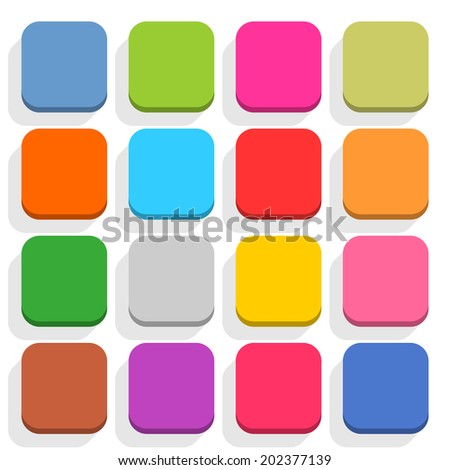 16 blank icon in flat style. Rounded square 3D button with shadow on white background. Blue, red, yellow, gray, green, pink, orange, brown, violet colors. Vector illustration design element in 8 eps