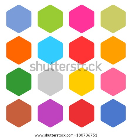 16 blank icon set hexagon web button on white background. Simple flat, solid, plain style. Blue, green, pink, orange, red, yellow, gray, brown, violet, shapes. Vector illustration  save in 8 eps - stock vector