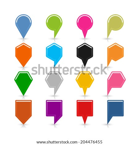 16 blank map pins sign location icon with shadow reflection on white background. Set 04 Blue green pink orange gray black yellow brown violet colors shapes. Vector illustration web design save 8 eps - stock vector