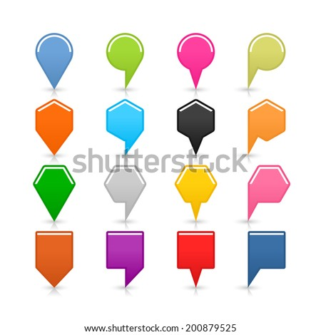 16 blank map pins sign set location icon with shadow reflection on white background. Blue green pink orange gray black yellow brown violet colors shapes. Vector illustration web design element 8 eps - stock vector