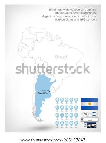 Blind Map Location Argentina On South Stock Vector - Argentina map continent