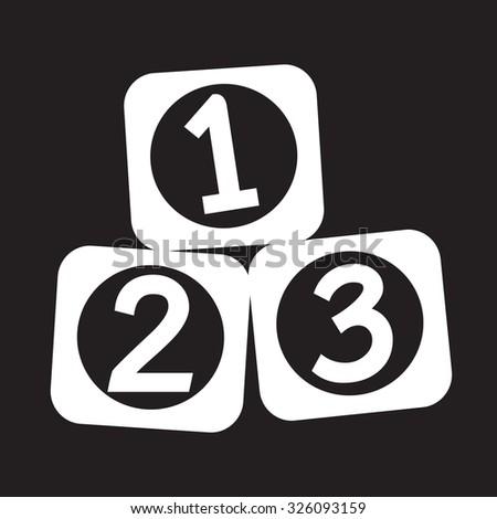 123 Blocks icon - stock vector