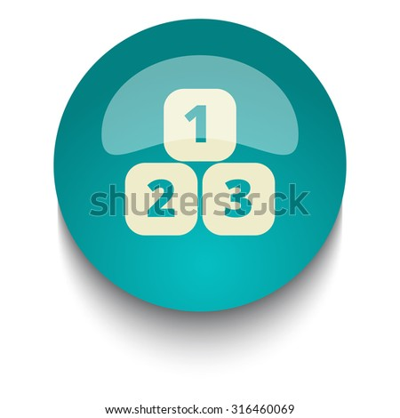 123 Blocks vector icon on blue green glossy glass button on white background  - stock vector