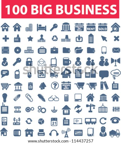 100 blue business icons set, vector