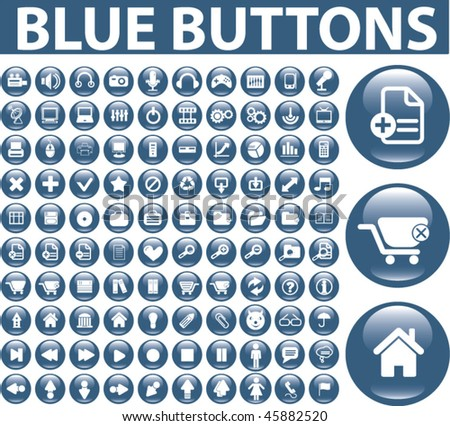 100 blue buttons. vector