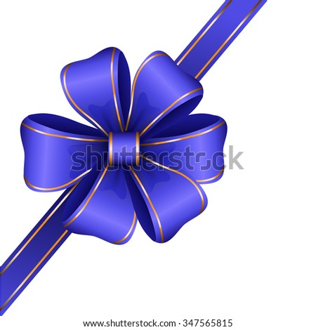 blue gift bow with ribbon isolated Vector - stock vector