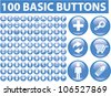 100 blue glossy web buttons set, vector - stock vector