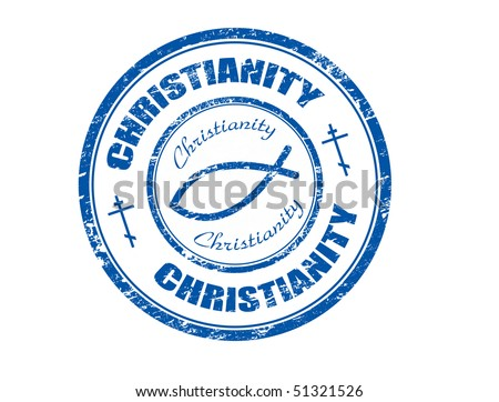 Blue grunge rubber stamp with  fish symbol and the word christianity written inside the stamp  - more available - stock vector