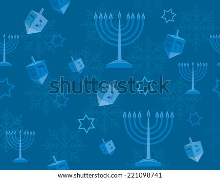 Blue Hanukkah Background with menorah, dreidels and star of david - EPS 10 - stock vector