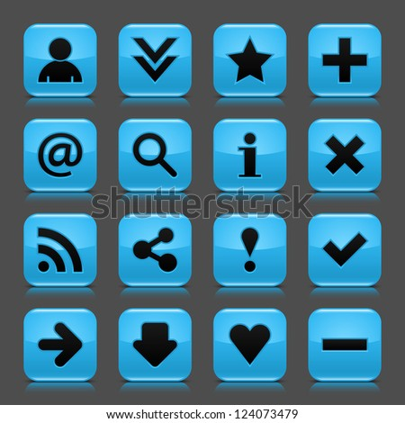 16 blue icon with basic web black sign. Glossy rounded square shape internet button with drop shadow and color transparency reflection dark gray background. Vector illustration design elements 8 eps - stock vector
