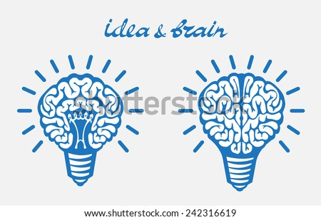 blue Light bulb idea human brain Isolated on white background - stock vector