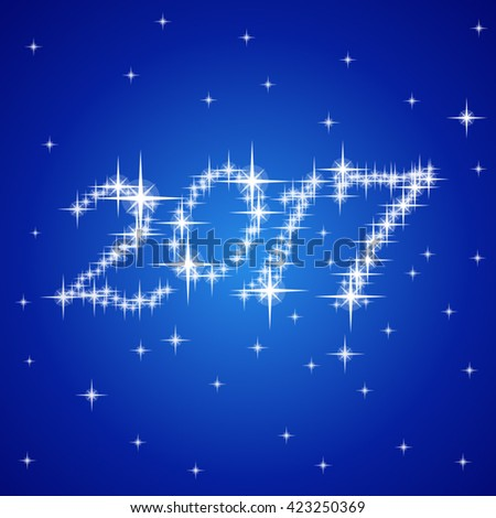 2017 Blue New Year vector stars numbers composition - stock vector