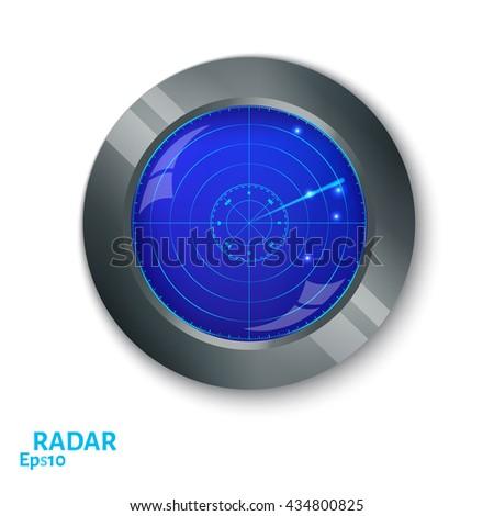 Blue radar screen. Internet button on white background. EPS10 vector. - stock vector
