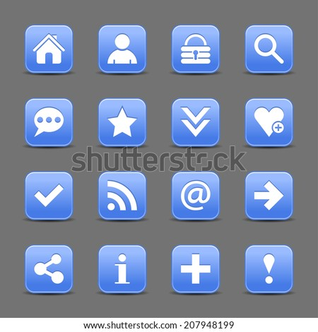 16 blue satin icon with white basic sign on rounded square web button with black shadow on dark gray background. This vector illustration internet design element save in 8 eps - stock vector