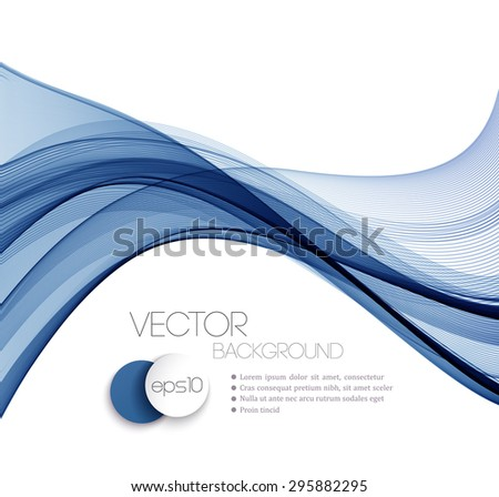 Blue Smooth wave stream line abstract header layout. Vector illustration - stock vector