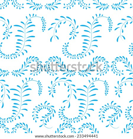 Blue vector ornamental floral seamless pattern in gzhel style
