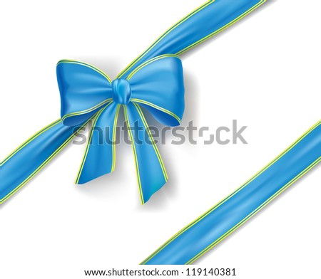 blue vector ribbon and bow with gold edging - stock vector