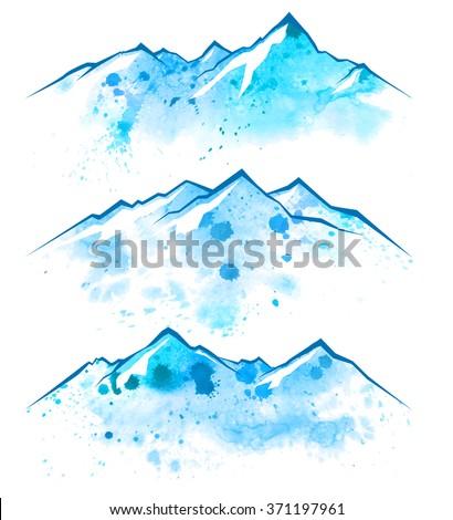 3 blue watercolor mountains borders - stock vector