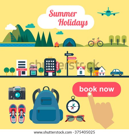 booking online concept for summer vacation  - stock vector