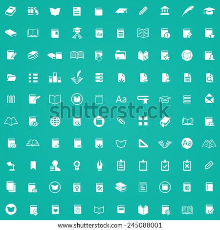 100 books icons, white on green background