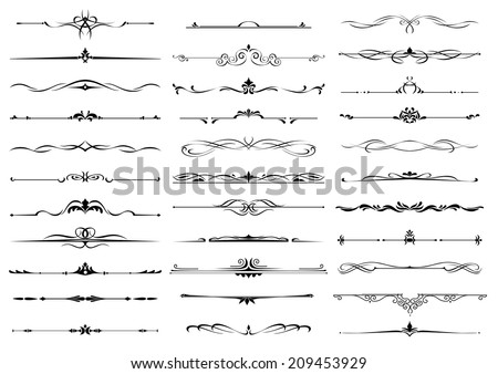 Borders and dividers decorative vignette elements set isolated on white for design - stock vector