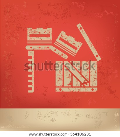 Box,cargo design on red background,grunge vector - stock vector