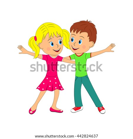 Boy And Girl Dance Illustration Vector